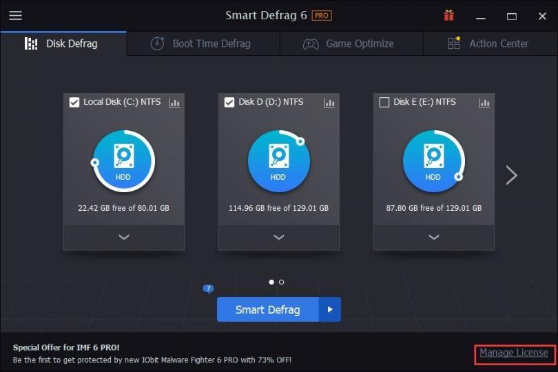 IObit Smart Defrag 6 Profesyonel Disk Birleştirme Programı